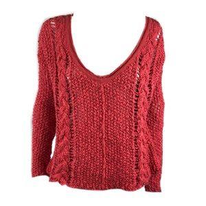 Free People Women's Orange Crochet Style Top
